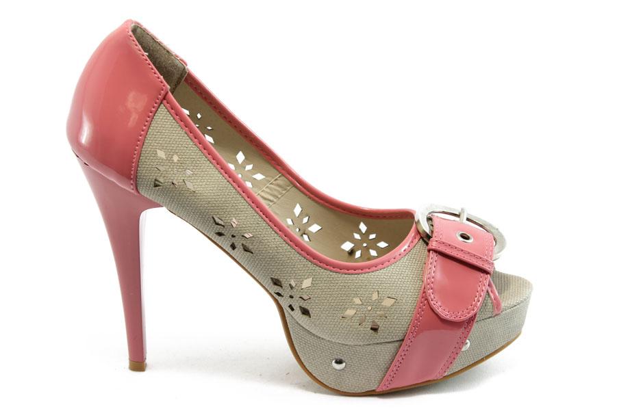 Дамски обувки на висок ток - висококачествен еко-велур - розови - EO-4177
