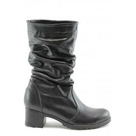 Дамски ботуши - естествена кожа - черни - EO-5571