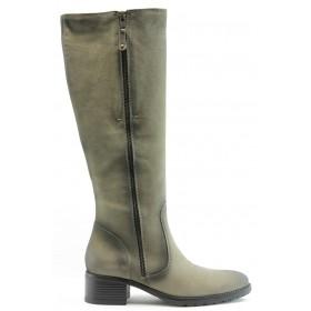 Дамски ботуши - естествен набук - зелени - EO-2443