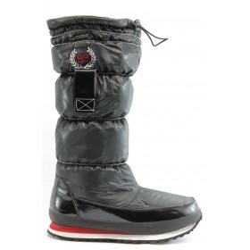 Дамски ботуши - висококачествен текстилен материал - черни - EO-2740