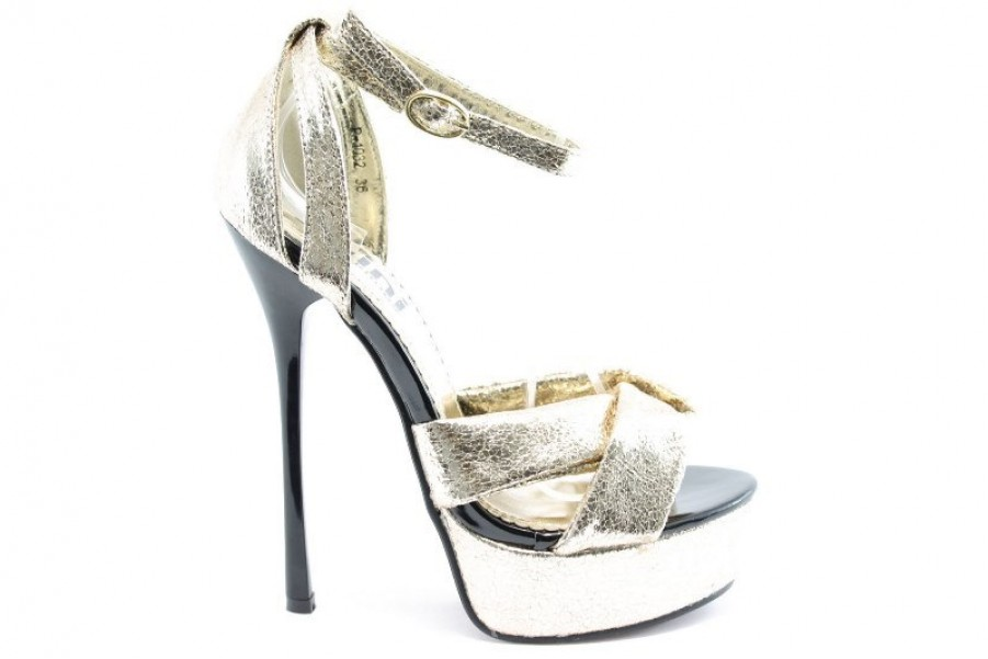 Дамски сандали - текстилен материал с брокат - сиви - EO-1266
