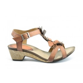 Дамски сандали - естествена кожа - оранжеви - EO-1378