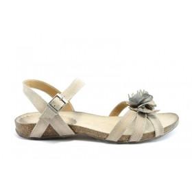 Дамски сандали - естествена кожа - бежови - EO-1352