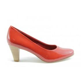 Дамски обувки на среден ток - еко кожа-лак - червени - EO-935