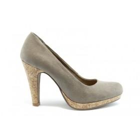 Дамски обувки на висок ток - еко-кожа - бежови - EO-952