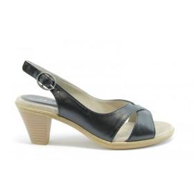 Дамски сандали - естествена кожа - черни - EO-1011