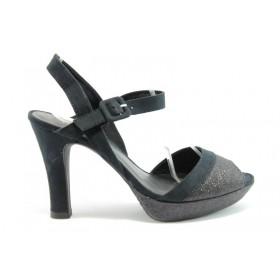 Дамски сандали - текстилен материал с брокат - черни - EO-1027