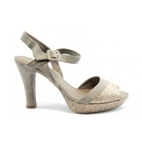 Дамски сандали - текстилен материал с брокат - бежови - EO-1031