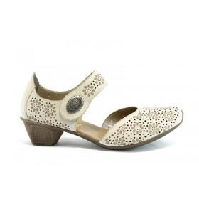 Дамски обувки на среден ток - естествена кожа - бежови - EO-5847