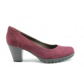Дамски обувки на среден ток - висококачествен текстилен материал - бордо - EO-1483