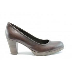 Дамски обувки на среден ток - естествена кожа - тъмнокафяв - EO-1484