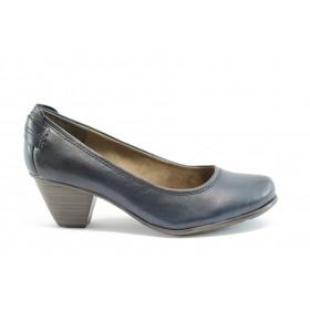 Дамски обувки на среден ток - естествена кожа - сини - EO-1482