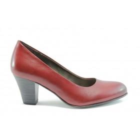 Дамски обувки на среден ток - естествена кожа - червени - EO-1485
