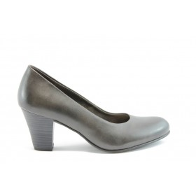 Дамски обувки на среден ток - естествена кожа - сиви - EO-1487