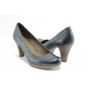 Дамски обувки на висок ток - естествена кожа - сини - EO-2972