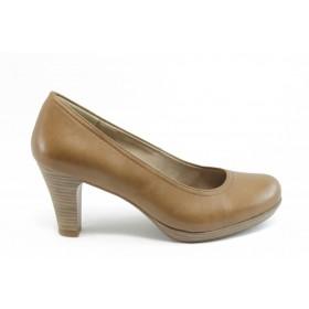 Дамски обувки на висок ток - естествена кожа - бежови - EO-3038