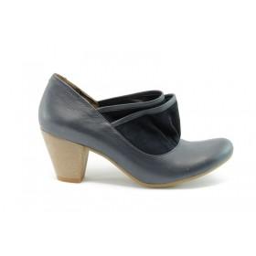 Дамски обувки на среден ток - естествена кожа с естествен велур - сини - EO-76