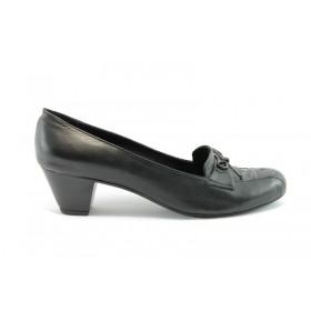 Дамски обувки на среден ток - естествена кожа - черни - EO-61
