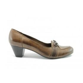 Дамски обувки на среден ток - естествена кожа - кафяви - EO-60