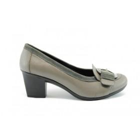 Дамски обувки на среден ток - естествена кожа - бежови - EO-66