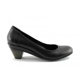 Дамски обувки на среден ток - естествена кожа - черни - EO-69