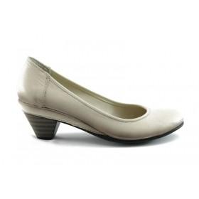 Дамски обувки на среден ток - естествена кожа - бежови - EO-70