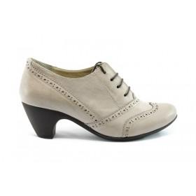 Дамски обувки на среден ток - естествена кожа - бежови - EO-71