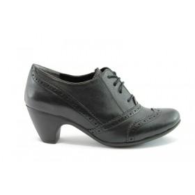 Дамски обувки на среден ток - естествена кожа - черни - EO-72