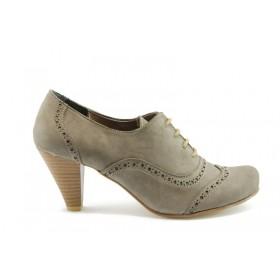 Дамски обувки на висок ток - висококачествен еко-велур - бежови - EO-417