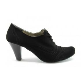 Дамски обувки на висок ток - висококачествен еко-велур - черни - EO-430