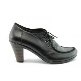 Дамски обувки на среден ток - естествена кожа - черни - EO-74