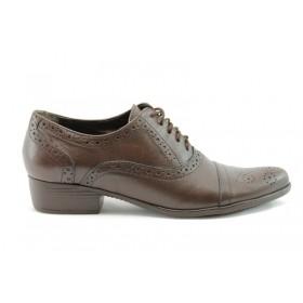 Равни дамски обувки - естествена кожа - кафяви - EO-65