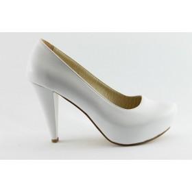 Дамски обувки на висок ток - висококачествена еко-кожа - бели - EO-4918