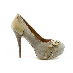 Дамски обувки на висок ток - висококачествен текстилен материал - бежови - EO-475