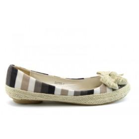Равни дамски обувки - висококачествен текстилен материал - бежови - EO-596