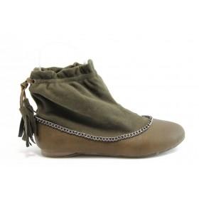 Равни дамски обувки - еко-кожа с текстил - зелени - EO-2623
