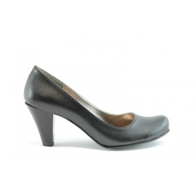 Дамски обувки на висок ток - висококачествена еко-кожа - черни - EO-622