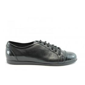 Равни дамски обувки - естествен велур с естествен лак - черни - EO-625