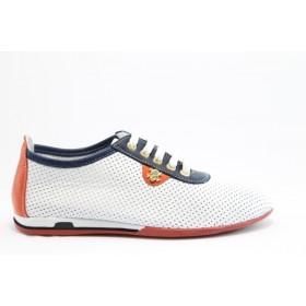 Равни дамски обувки - естествена кожа с перфорация - бели - EO-6292