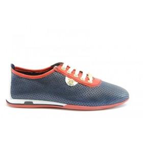 Равни дамски обувки - естествена кожа с перфорация - сини - EO-6291