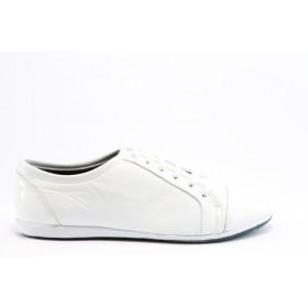 Равни дамски обувки - естествена кожа с естествен лак - бели - EO-628