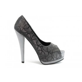 Дамски обувки на висок ток - текстилен материал с брокат - сиви - EO-629