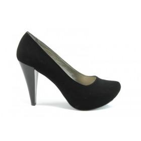 Дамски обувки на висок ток - висококачествен еко-велур - черни - EO-631
