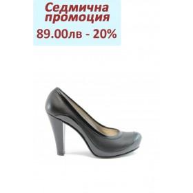Дамски обувки на висок ток - естествена кожа с естествен лак - черни - EO-632
