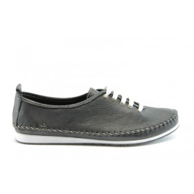 Равни дамски обувки - естествена кожа - черни - EO-637