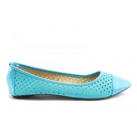 Равни дамски обувки - еко-кожа - сини - EO-640