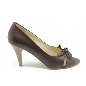 Дамски обувки на среден ток - естествена кожа - кафяви - EO-3112