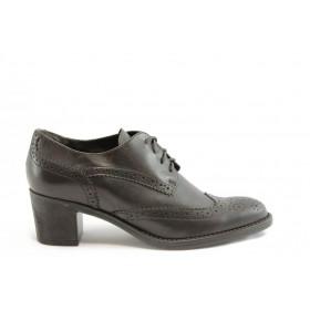 Дамски обувки на среден ток - естествена кожа - кафяви - EO-2215