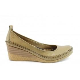 Дамски обувки на платформа - естествена кожа - бежови - EO-2008