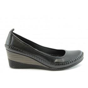 Дамски обувки на платформа - естествена кожа - черни - EO-2009